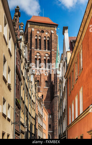 St. Marys Church is one of the largest brick churches in the world, Gdansk, Pomerania, Poland, Europe - Stock Photo