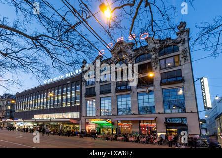 Corso Cinema, Globus, Bellevue, Twilight,  Zurich , Switzerland - Stock Photo