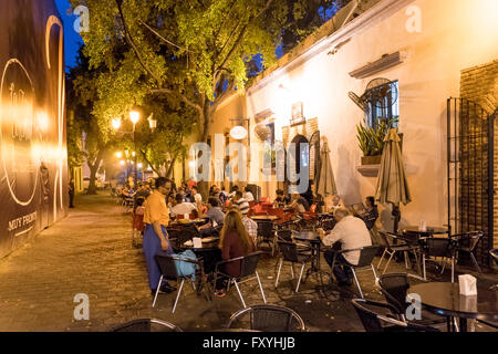 Sidewalk cafe SegaZona in the Zona Colonial old town, Santo Domingo, Dominican Republic - Stock Photo