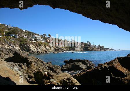 beach cove Laguna Beach California - Stock Photo