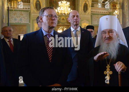 Kazan, Russia. 20th Apr, 2016. Thuringian State Premier Bodo Ramelow (L-R), State Minister of Economic Affairs Wolfgang - Stock Photo