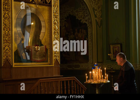Kazan, Russia. 20th Apr, 2016. A visitor stands in the Cathedral of the Annunciation in Kazan, Russia, 20 April - Stock Photo