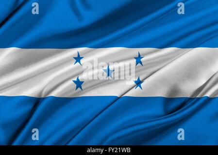 Flag of Honduras waving in the wind. - Stock Photo