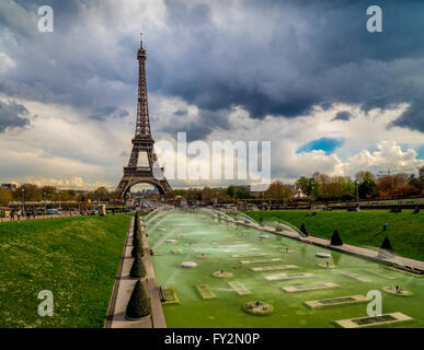 Eiffel Tower and fountains in the Trocadero Gardens, Paris, France. - Stock Photo