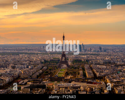 Sunset over Paris with Eiffel Tower, Paris, France - Stock Photo
