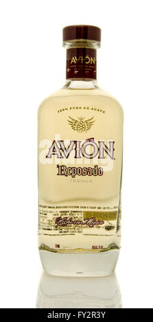 Winneconne, WI - 19 March 2016:  A bottle of Avion tequila - Stock Photo
