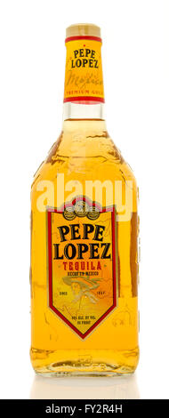 Winneconne, WI - 19 March 2016:  A bottle of Pepe Lopez tequila - Stock Photo