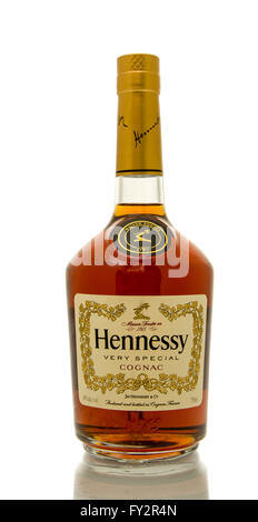 Winneconne, WI - 19 March 2016:  A bottle of Hennessy very special cognac - Stock Photo