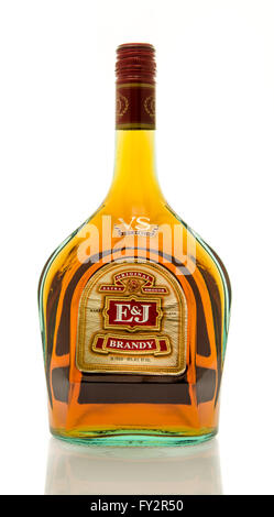 Winneconne, WI - 19 March 2016:  A bottle of E&J brandy - Stock Photo