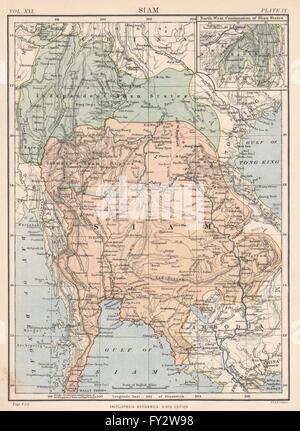 SIAM (THAILAND): Shan states. Laos Myanmar Burma Cambodia. Britannica, 1898 map - Stock Photo