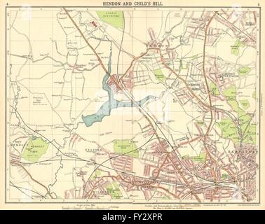 LONDON N:Hendon Childs Hill Hampstead Wembley Golders Green Willesden, 1921 map - Stock Photo
