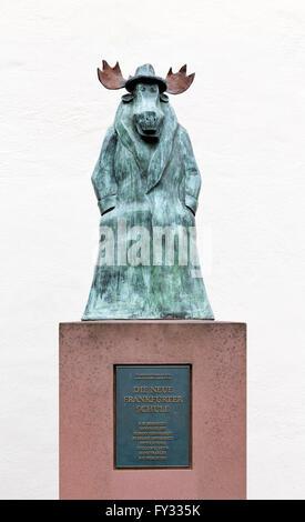 Sculpture of an elk by Hans Traxler, New Frankfurt School, Caricatura Museum of Comic Art, Frankfurt am Main, Hesse, - Stock Photo