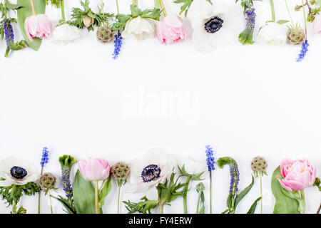 Pink tulips, white anemones, pink cloves and white buttercups lying on white background in two rows, on top and - Stock Photo