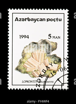 Postage stamp from Azerbaijan depicting Laumontite. - Stock Photo