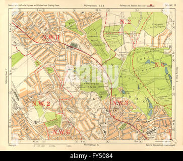 NW LONDON. Golders Green Hampstead Child's Hill Cricklewood. BACON, 1928 map - Stock Photo