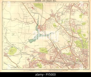 LONDON N:Hendon Childs Hill Hampstead Wembley Golders Green Willesden, 1917 map - Stock Photo