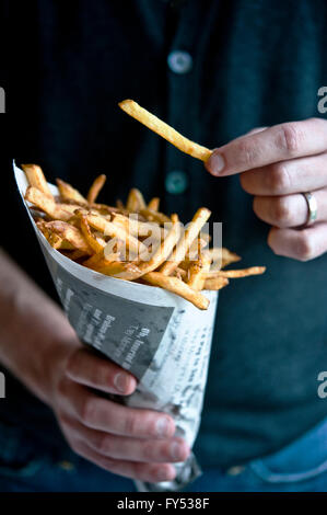 French Fries in a cone - Stock Photo