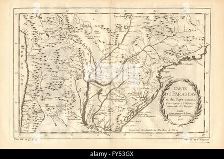 'Paraguay et des pays voisins'. Central South America. BELLIN, 1758 old map - Stock Photo