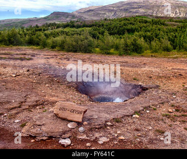 Southwest Iceland, Iceland. 4th Aug, 2015. A small geyser, titled Litli-Geysir, bubbles in the Haukadalur geothermal - Stock Photo