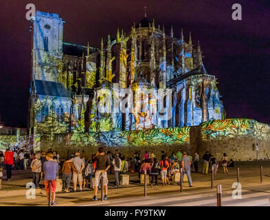 Light show on Cathedral of St Julien in Le Mans France, the Cathedral is situated in the old city of Le Mans. - Stock Photo