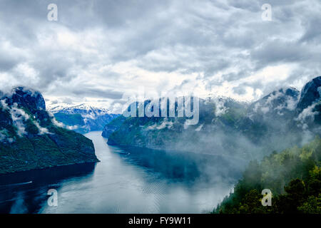 Beautiful Nature Norway natural landscape. Hardanger fjorden, Norway - Stock Photo