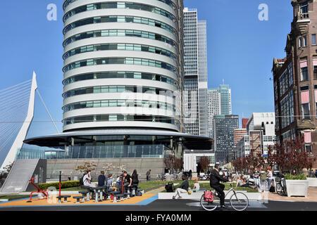 World Port Center ( Kop van Zuid ) Montevideo hotel New York Rotterdam Netherlands Dutch ( New Maas River Erasmus - Stock Photo