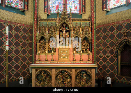 Medieval alter piece depicting the crucifixion of Jesus Christ at the Church of Our Lady in Bruges, Belgium - Stock Photo