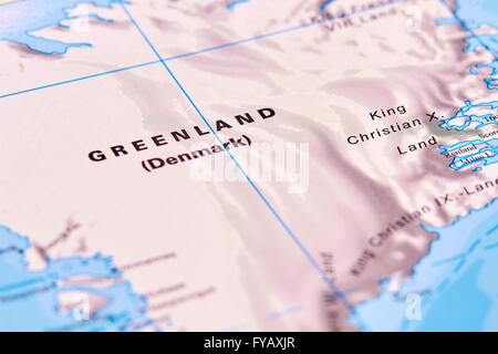 Greenland, Country in North America on the World Map - Stock Photo