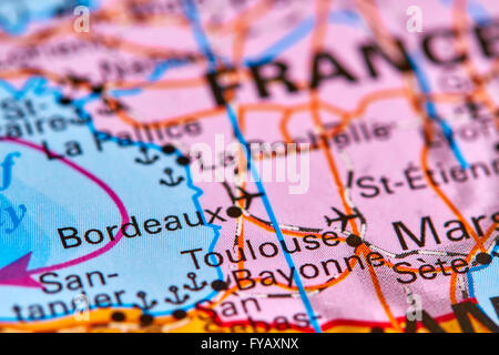 Bordeaux, City in France on the World Map - Stock Photo