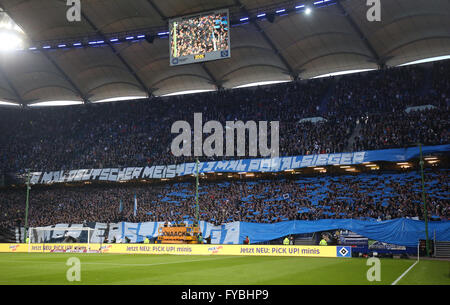 Hamburg, Germany. 22nd Apr, 2016. Hamburg supporters cheer for their team prior to the German Bundesliga soccer - Stock Photo