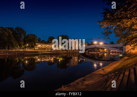 Evening photo of River Ouse in York with Lendal Bridge, Lendal Tower and The star Inn the City restaurant, North - Stock Photo