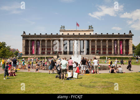 Altes Museum and Lustgarten, Museum Island, Berlin, Germany - Stock Photo