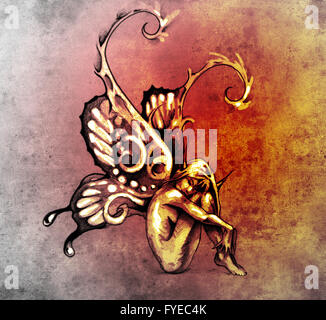 Sketch of tattoo art, fairy with butterfly wings - Stock Photo