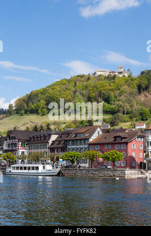 Townscape on the bank of the Rhine River with a boat landing and Burg Hohenklingen Castle, Stein am Rhein, High - Stock Photo