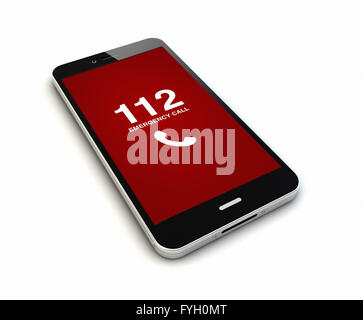 render of an original smartphone with emergency call on the screen. Screen graphics are made up. - Stock Photo