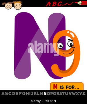 letter n with nine cartoon illustration - Stock Photo