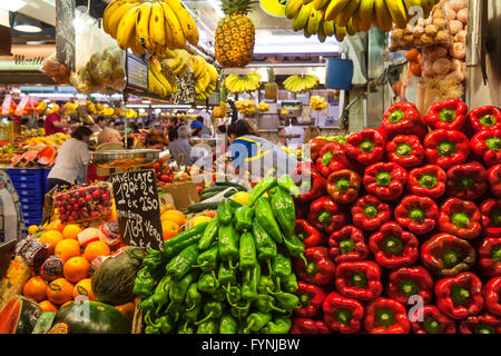 Fruits and vegetables,  Mercat de Sant Josep, Boqueria market, La Rambla, , Barcelona, Spain - Stock Photo