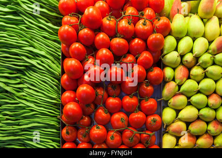 Beans, Tomatoes, Pears, Fruits, ,  Mercat de Sant Josep located on La Rambla, Boqueria market, Barcelona, Spain - Stock Photo
