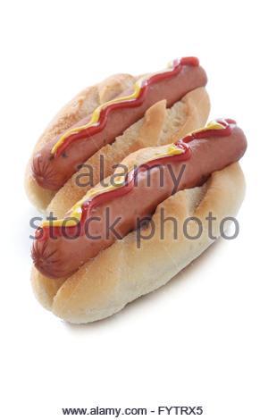 hot dog in bun - Stock Photo