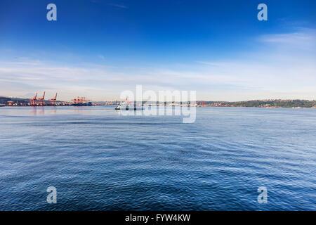 Washington State Ferry in Elliot Bay - Stock Photo