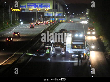 Hampshire, UK. 28th April, 2016. A Man has been struck by a car after running across a three lane major motorway - Stock Photo