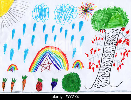 autumn harvest vegetables on a child's drawing - Stock Photo
