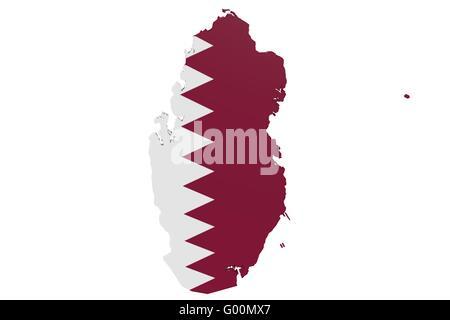 Qatari Flag Map - Stock Photo