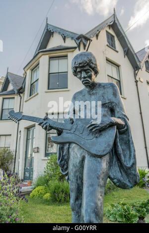 Jimi Hendrix Statue, Isle Of Wight, southern England. - Stock Photo