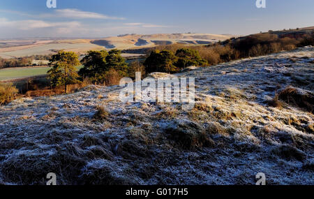 A frosty morning on Morgan's Hill, looking towards Cherhill Down. - Stock Photo
