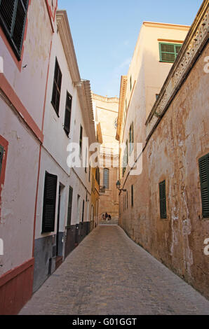 Menorca, Balearic Islands, Spain: the Cathedral Basilica of Ciutadella, the Church of Saint Mary, constructed on - Stock Photo