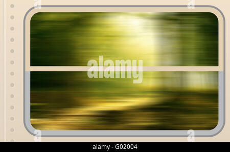 View from a Train's Windows - Stock Photo