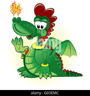 Vector illustration of the green funny dragon wear - Stock Photo