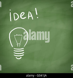 Lamp painted with chalk on blackboard with the word IDEA! - Stock Photo
