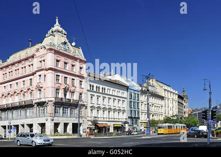 Pest district with restored buildings from the tur - Stock Photo